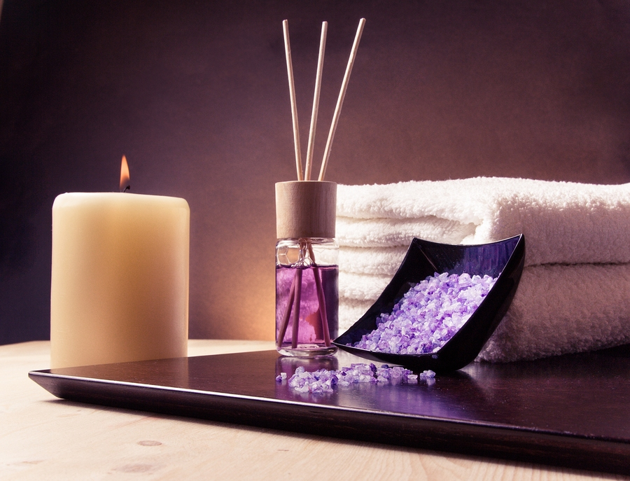 Spa Massage Border Background With Towel Stacked, Perfume Diffuser And Sea Salt: Spa massage border background with towel stacked perfume diffuser and sea salt violet gradient background